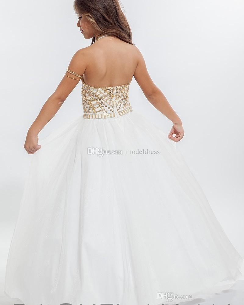 Little Girls Pageant Dresses Halter Backless Floor Length Ball Gown Major Beading Child Birthday Party Gowns Flower Girl Dress For Weddings