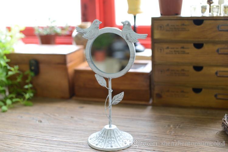 White Color Metal Retro Style Magnifying Standing Detachable Decor Makeup Mirror