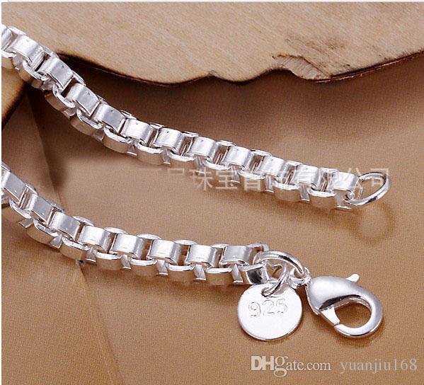 Freies Verschiffen 925 Sterling Silber 14g Armbänder 4mm Box Armband Schmuck Mode
