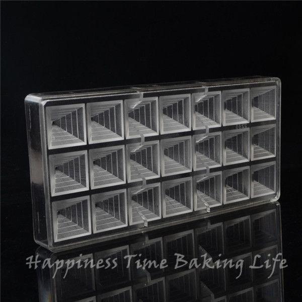 2.8x2.8cmx21cups Pyramid Shape Chocolate Clear Polycarbonate Plastic Mold,DIY Handmade Chocolate PC Mold,Chocolate Tools