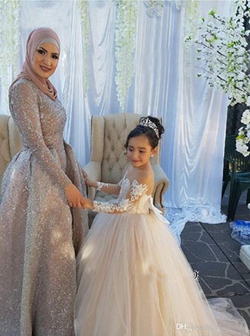 Custom Made Long Sleeve Sheer Neck Tulle Flower Girls' Dresses Hand Made Applique Lace Kids Formal Party Dress Fast Ship Bow Back SweepTrain