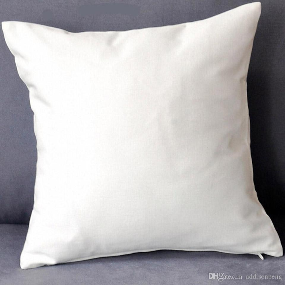 All Sizes plain white/natural pure cotton twill pillow cover with hidden zip for custom/DIY print blank 200GSM cotton cushion cover