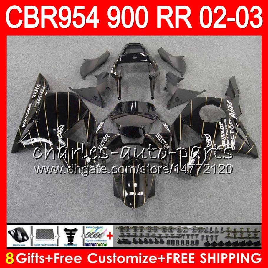 Body For HONDA CBR 954RR CBR900RR CBR954RR 2002 2003 66NO32 CBR 900RR TOP Black gold CBR954 RR CBR900 RR CBR 954 RR 02 03 Fairing kit 8Gifts