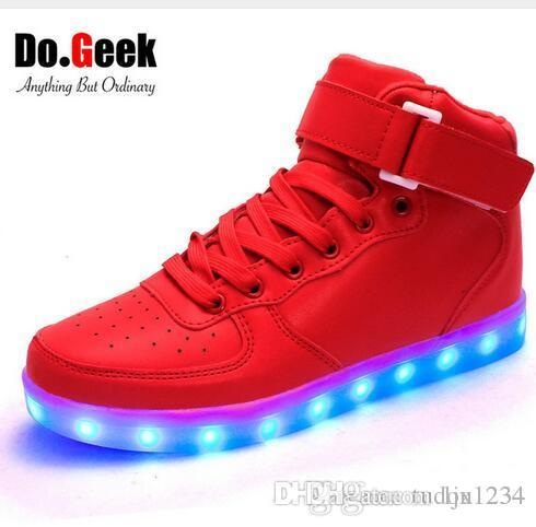 Dogeek Led Light Shoes Red High Top Adult Women And Men Light Up Zapatos  Usb Charger Sneakers Lumineux Basket Tennis Shoes Ladies Shoes From  Ljx1234