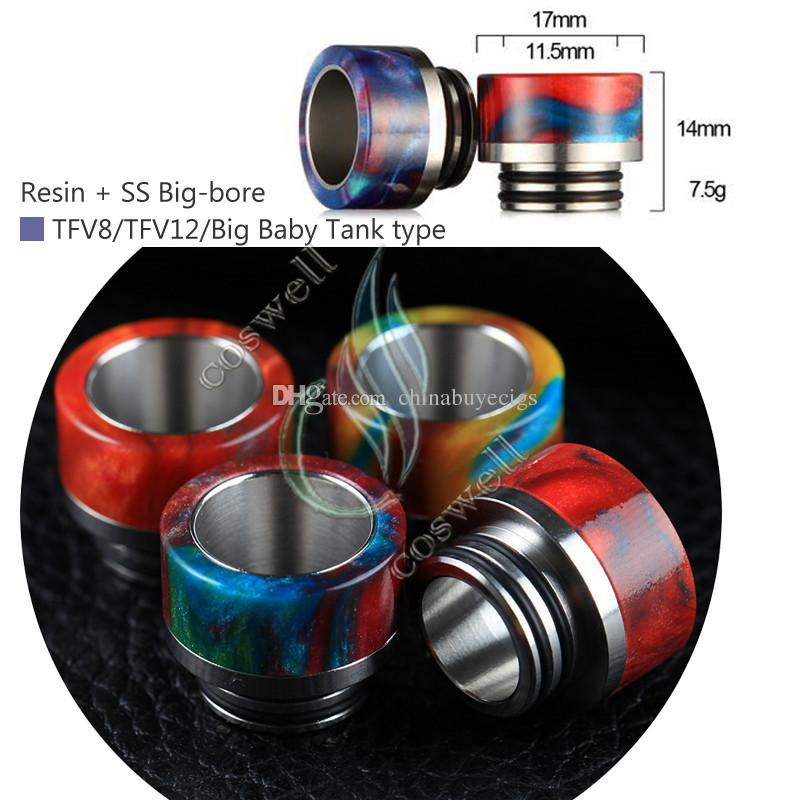Top Epoxy Resin SS Drip tips Wide Bore 510 810 dripper tip Mouthpiece TFV8 TFV12 Big Baby Tank Kennedy AV24 RBA atomizer e cigs Mod RDA DHL