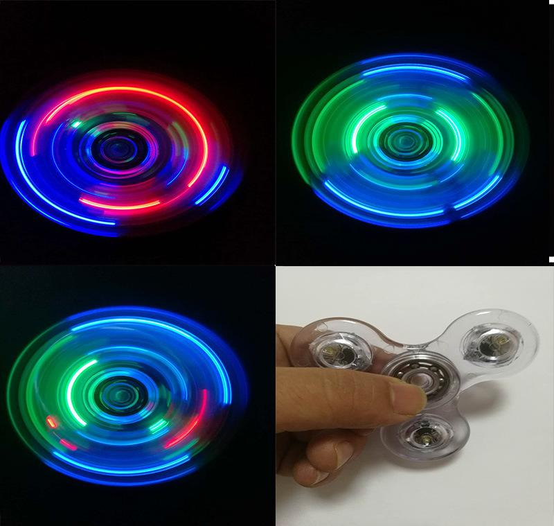 Fluorescent Light Anxiety: DHL LED Luminous Clear Crystal Fidget Spinner Crystal Hand
