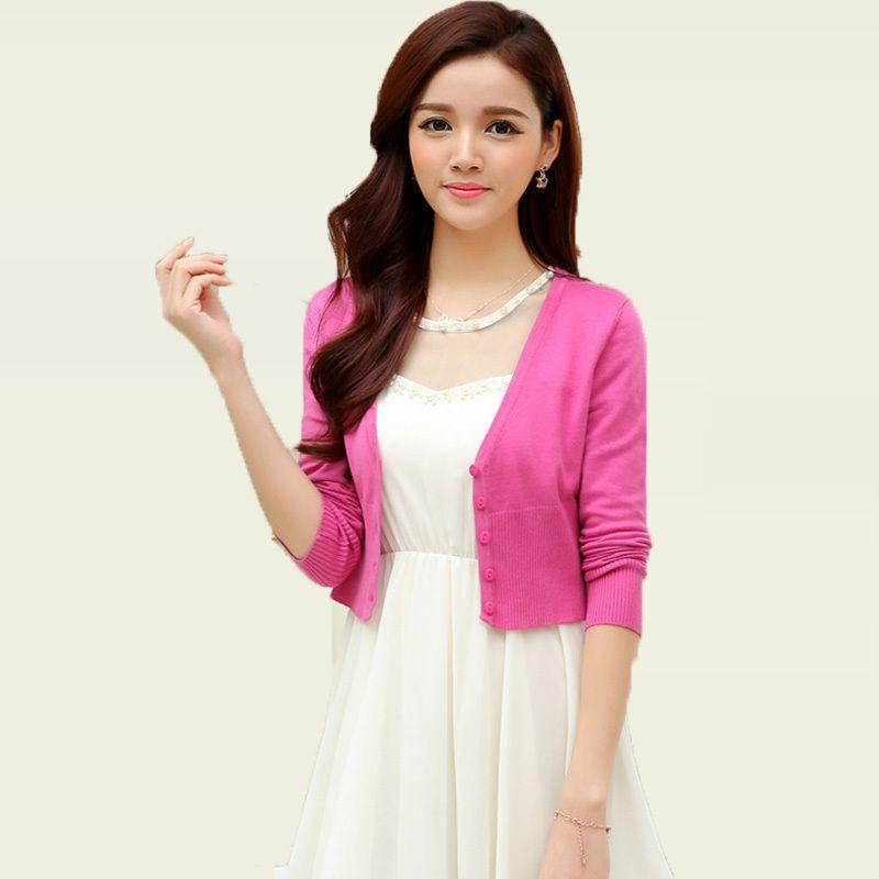 Wholesale-Women Knitting Bolero Short Cardigan Light Plain Color ...