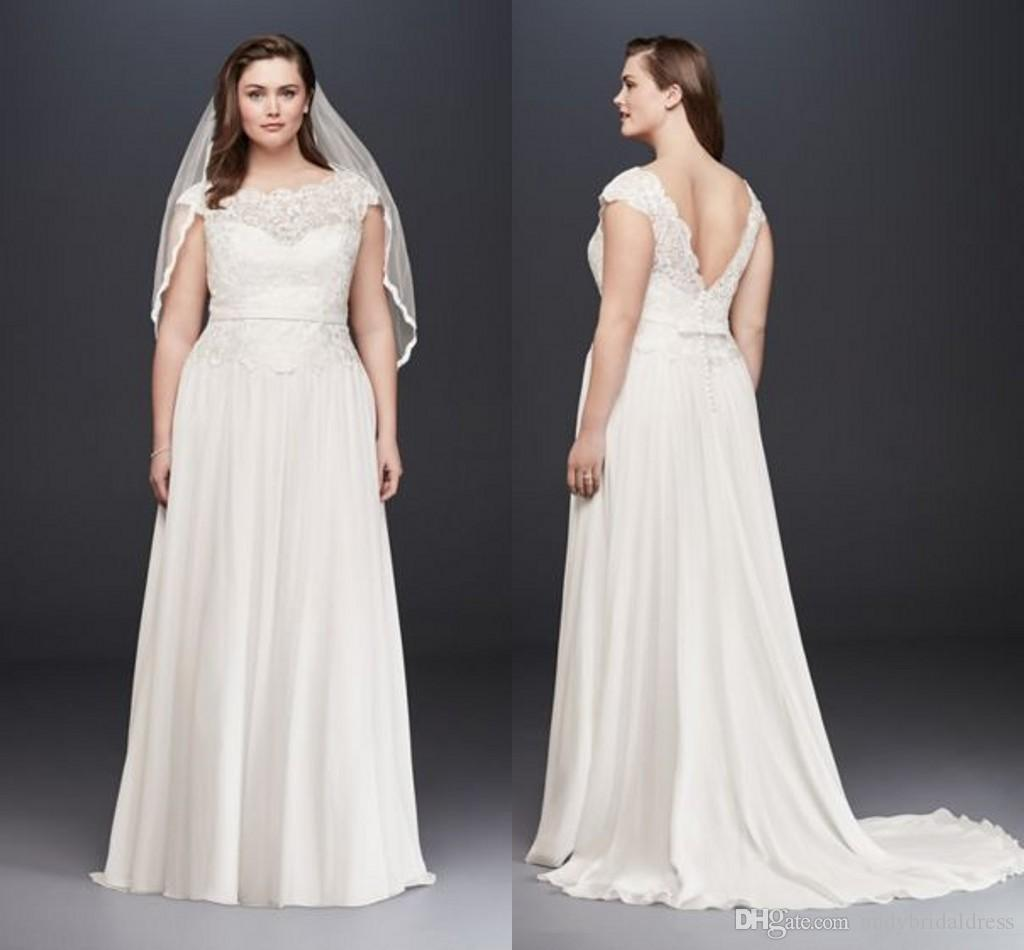 Summer Beach Cheap Lace Bodice Chiffon Long Plus Size Wedding Dress 18W Sheath/Column Low Back Sweep Train Wedding Dress Bride Gowns ADPW003