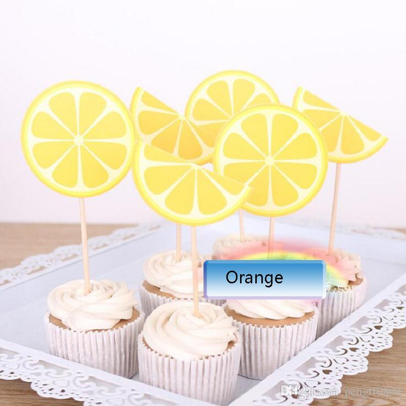 Cake Toppers Orange Paper Cards Banner for Fruit Cupcake Wrapper ...