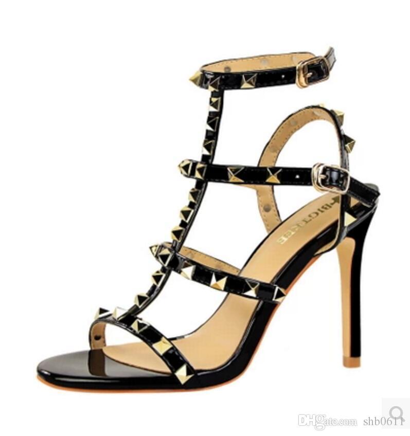 733674166b34a5 2018 Designer Frauen High Heels Party Mode Nieten Mädchen Sexy Spitze  Schuhe Tanzschuhe Hochzeit Schuhe Doppel Riemen Sandalen Von Shb0611