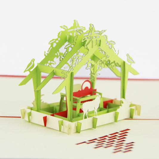 wholesale a greenhouse christmas card 3d kirigami card handmade greeting cards gift for men christmas gifts for old people christmas gifts bulk gift - Cheap Christmas Cards In Bulk