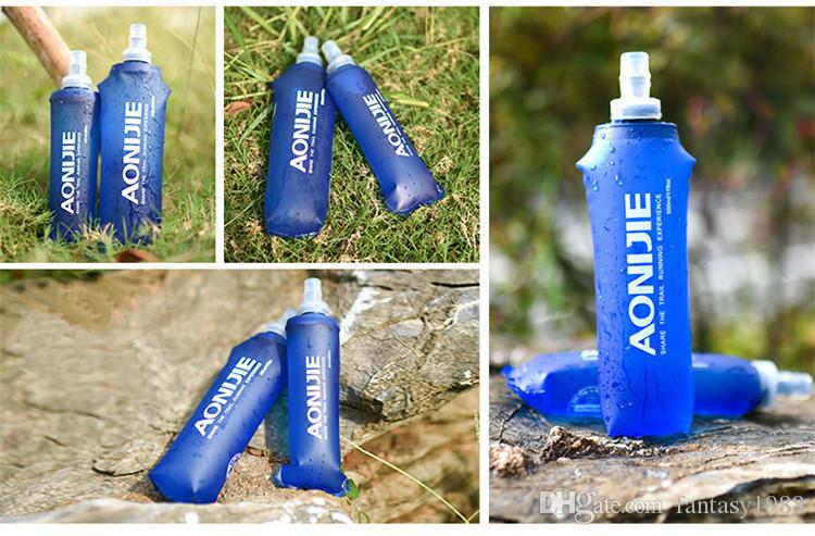 Easy Carry Outdoor Gear Folding Drink Water Travel Sport Flexible Collapsible Water Bottles Foldable Drinkware Hydration Gear Silicone TPU