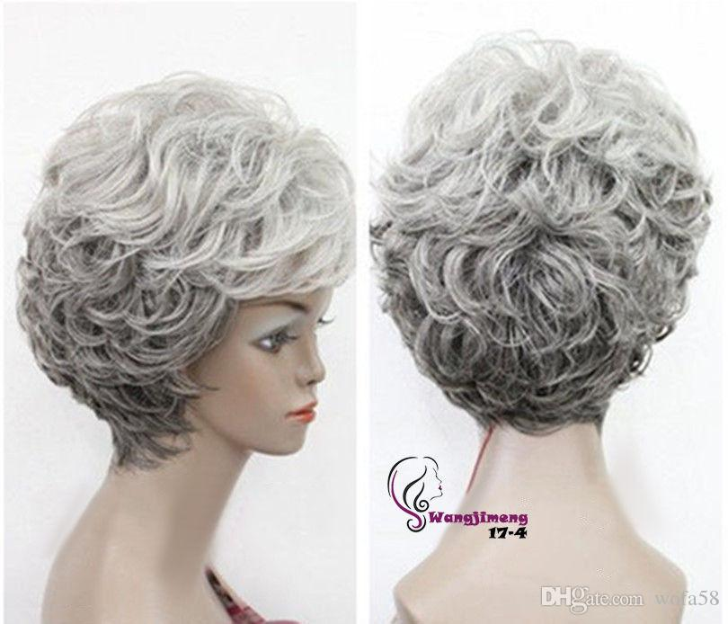 ≫≫≫New Old Women Grandma Hairpieces Mixed Grey Curly Lady Wigs Wig Cap Size  Cotton Wig Cap Liner From Wofa58 468c627609