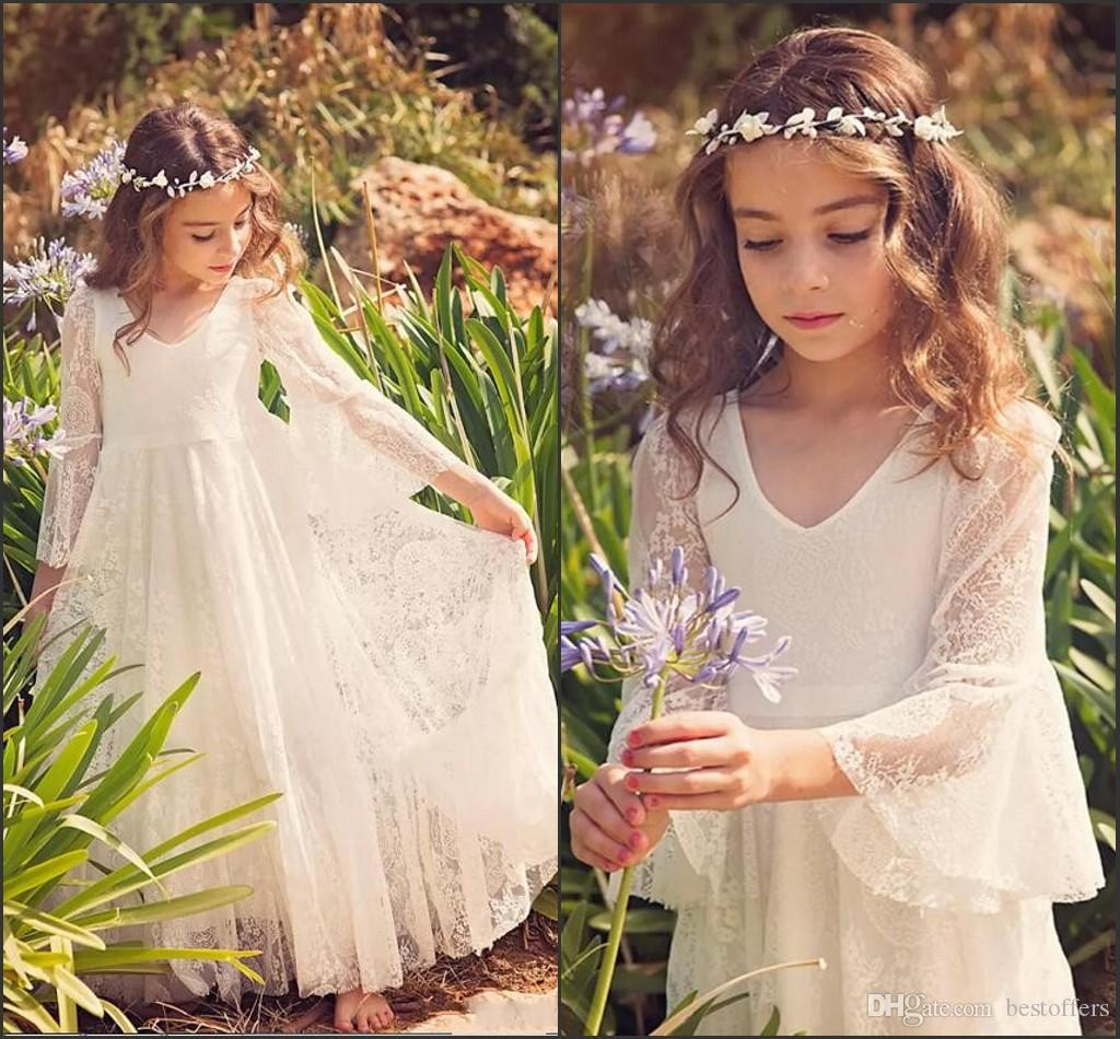 2020 New Fantasia A-line Flower Girl Lace Vestidos estilo country Meninas Vestidos V Neck 3/4 bolsas para 2-12 anos MC0668