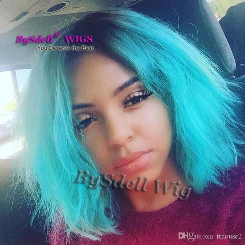короткие черные корни ломбер лед синий цвет парик синтетические кружева перед парик женский короткая стрижка парик естественный вид женщины Glueless кружева перед парики
