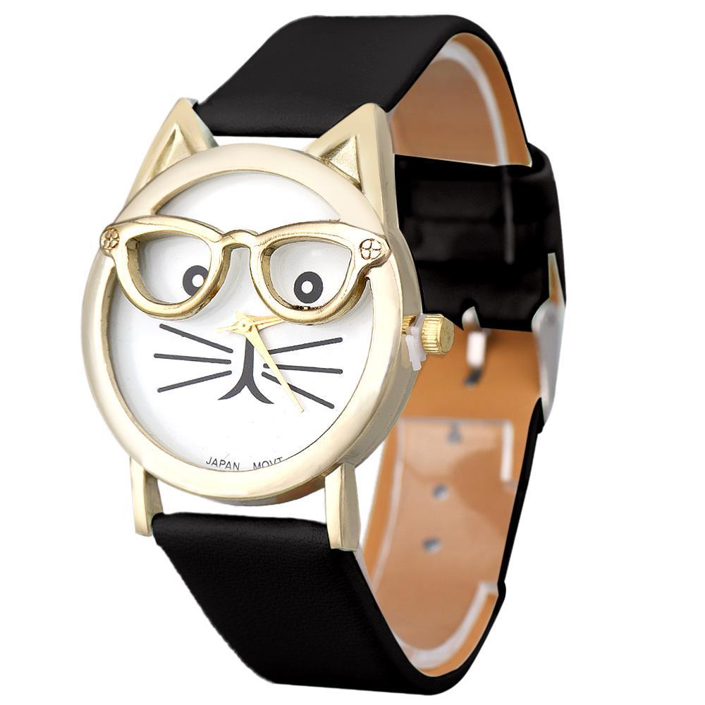 Compre Relojes Lindo Gato Gafas Reloj De Cuero De Leopardo De Las Mujeres  De Cuarzo Analógico Reloj De Pulsera Mujeres Hombres Relojes Deportivos  Relogio Al ... a4b1d69b45ae