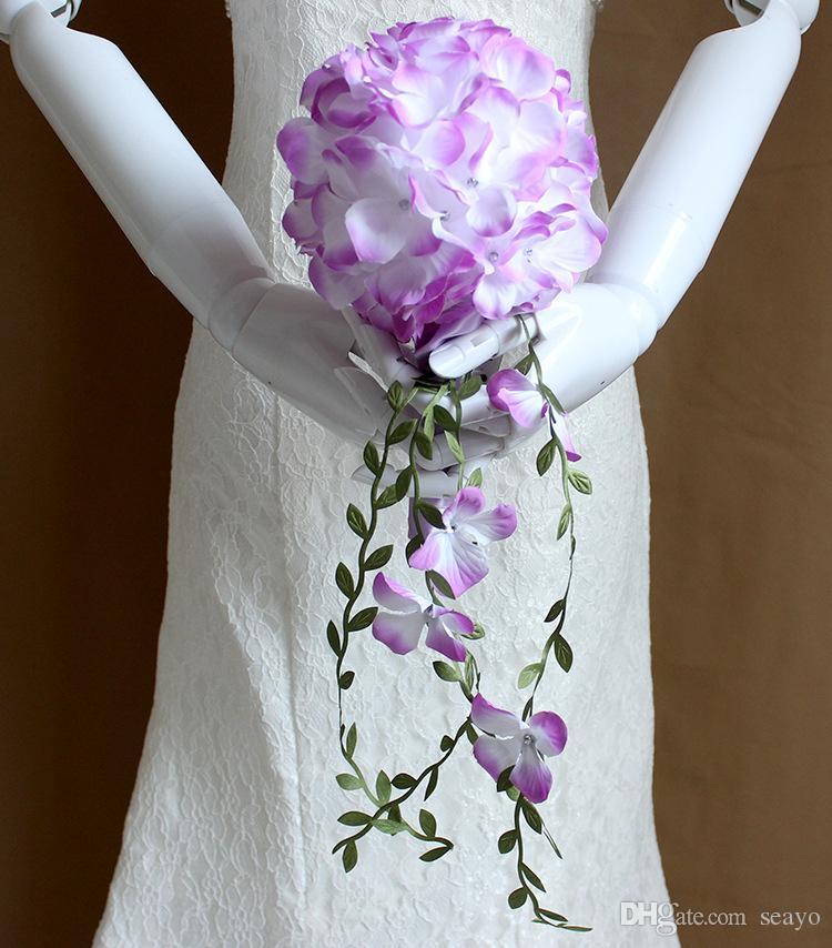 2019 Hochzeit liefert Blumen reine Handarbeit Hochzeit Foto Requisiten Braut Brautjungfern Blumenstrauß ROT rosa gelbblau lila weiß lila