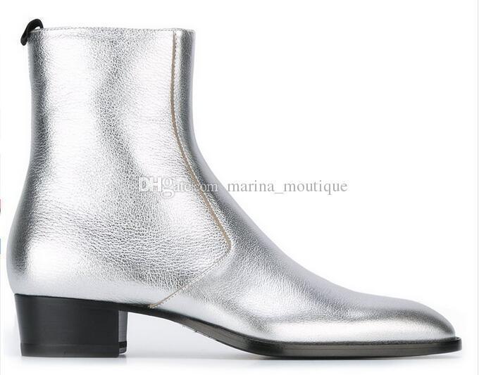 2017 سقوط الفضة الكلاسيكية الأحذية براءات الجلود النمط الغربي وايت slp تسخير الكاحل للرجال حجم كبير 45