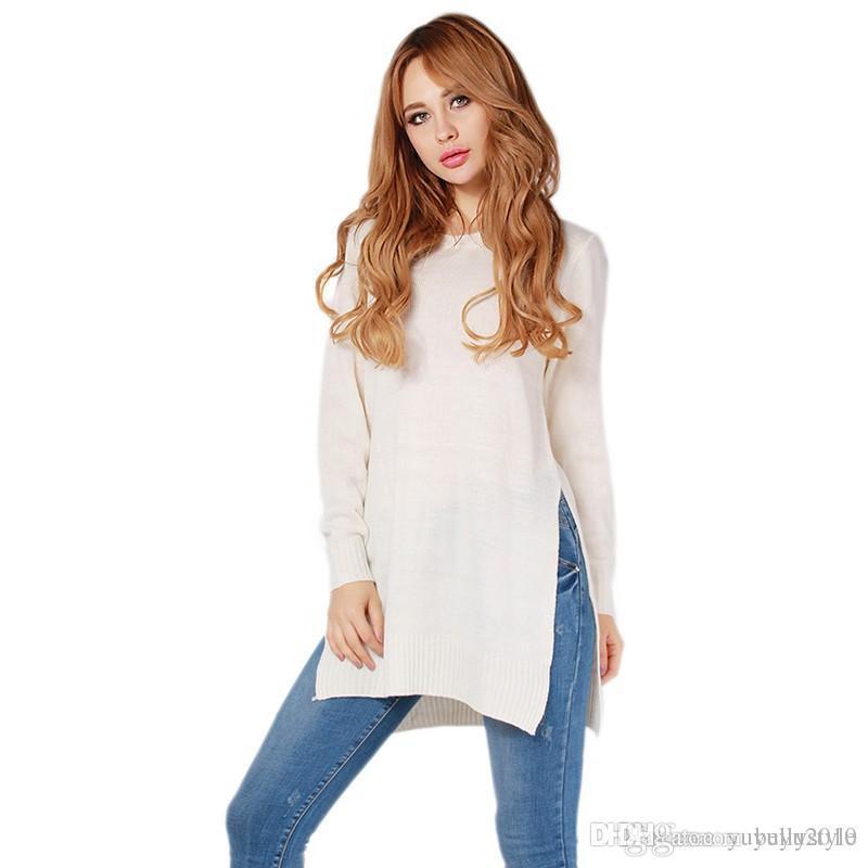 5fd9d44f3 Compre 2016 Mulheres Lado Dividir Pullovers De Malha Camisola Branca Das  Senhoras Outono Inverno Moda Casual Sexy Manga Comprida O Pescoço Puxar  Camisa ...