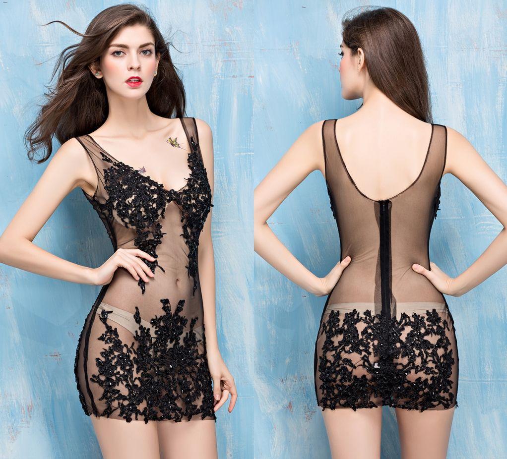 New Sexy Dress Nightclub Look Deep V Collar Collar Short Paragraph ...