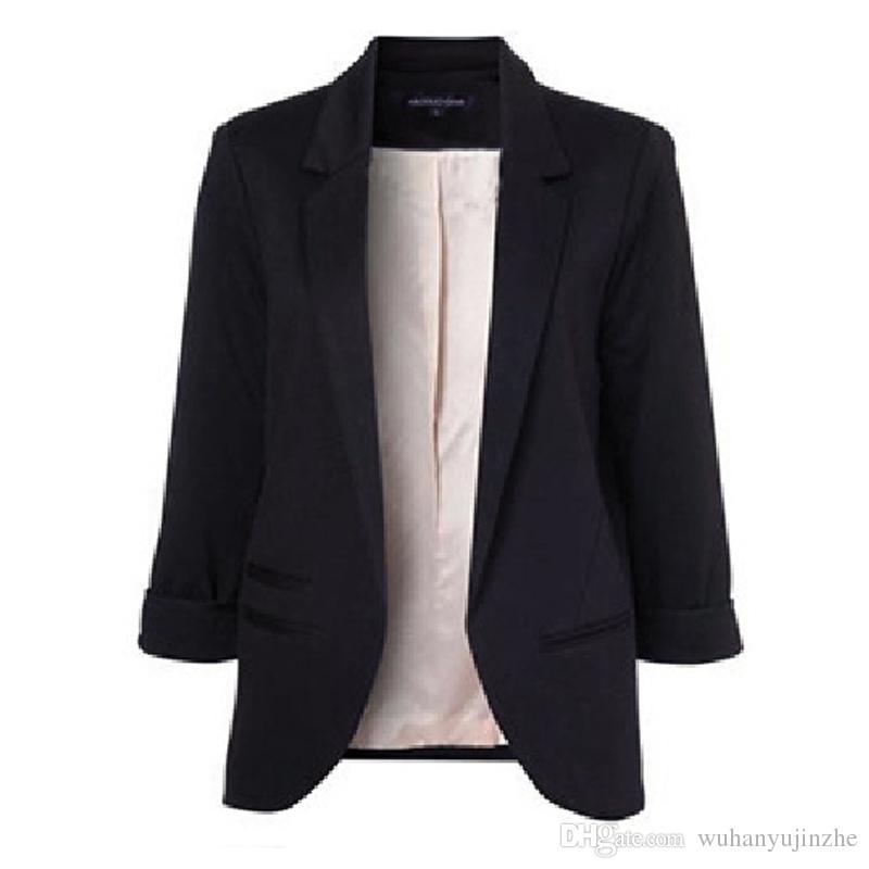 Trasporto libero 2017 moda donna 3/4 manica color caramella giacca giacca cappotto giacca casual plus size s-2xl CL244