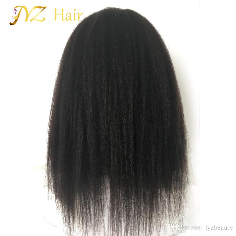 JYZ Glueless Kinky Straight Full Lace Wig Afro Lace Front Wigs With Natural Hair Line Bleached Knots Baby Hair Curly Wigs