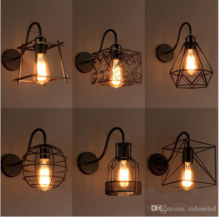 2018 Loft Iron Birdcage Wall Lamp Vanity Lights Led Wall Sconces ...