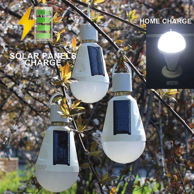 7W Lámpara Solar Inteligente Powered Portable Bombilla Led Lámpara de Energía Solar bombilla led Iluminación Panel Solar Luz de Campamento Viajes Usado
