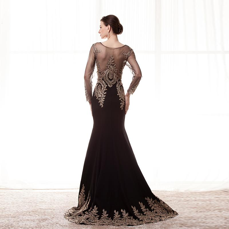 Long Sleeves Cheap Prom Dresses Scoop Sheer Neckline Mermaid Gold Lace Appliques Burgundy Evening Dresses Robe de Soiree Longue Party Gown