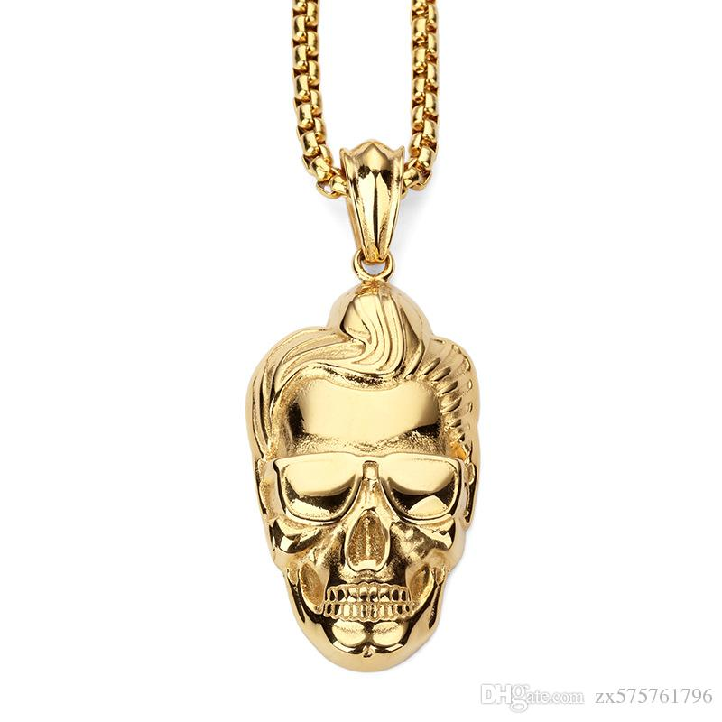 Wholesale new design fashion men skeleton pendant necklaces punk rap wholesale new design fashion men skeleton pendant necklaces punk rap rock micro hip hop 18k gold plated jewelry filling pieces owl pendant necklace silver aloadofball Image collections