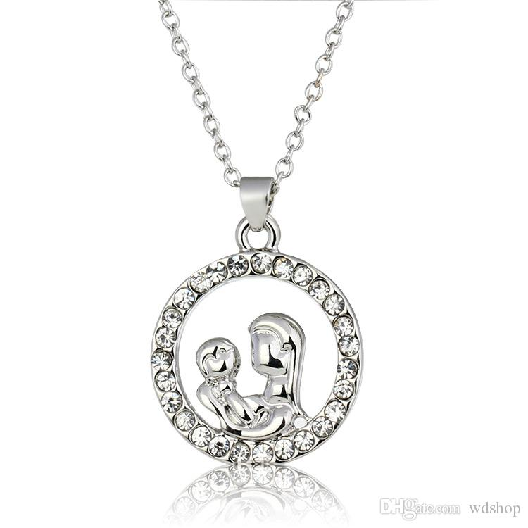 High Quality Silver Mother Hold Baby Pendant Necklace With Austrian Crystal Gift For Mom Mother'S Day Gift Jewelry