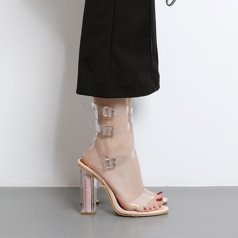 fef14501116 2017 PVC transparente Transparente Strappy Sandálias Sapatos de salto alto  Sapatos de Mulher Aberto-toed Novos Sapatos Sexy Sandals Mulher 2017-1 Black  ...
