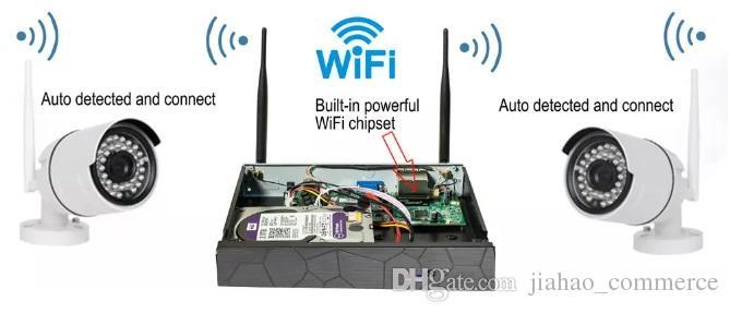 8ch نظام cctv اللاسلكية 720 وعاء nvr 8 قطع 1.0mp ir outdoor p2p wifi ip cctv الأمن كاميرا نظام مراقبة كيت