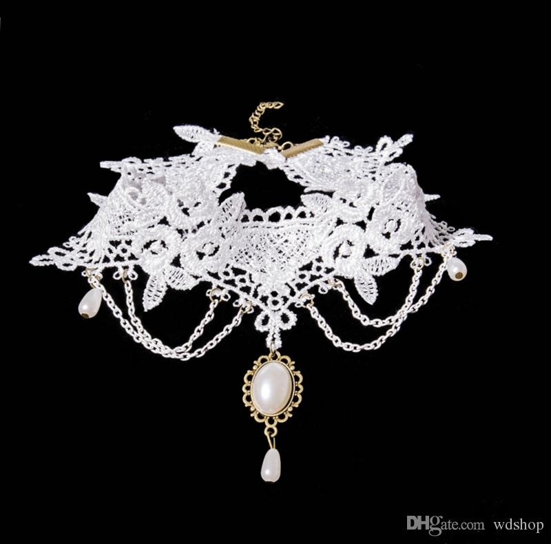 Elegant White Lace Choker Necklace With Vintage Gem Pendant Charm Pretty Neck Jewelry For Women Party Gift Wholesale