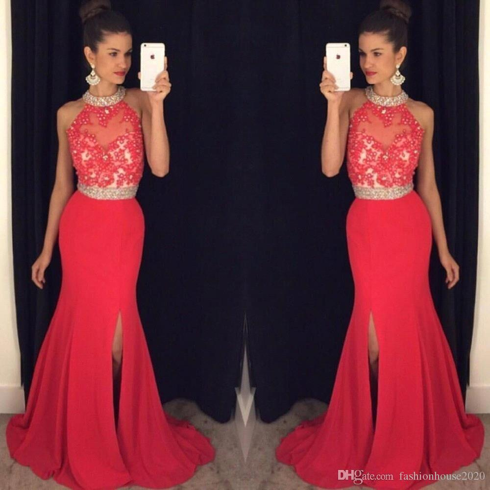 Cheap Long Red Prom Dresses Mermaid 2018 High Neck Appliques Beaded ...