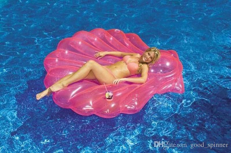 Adults Giant Pool Float Pearl Scallops Inflatable Purple Shell Floating Mattress Lounger With Handle and Decoration Pearl Ball 180*160CM