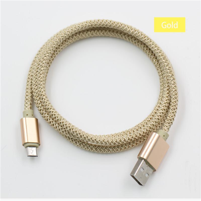 뜨거운 판매 꼰 마이크로 USB 케이블 Unbroken 금속 나일론 꼰 짠된 데이터 케이블 충전기 충전 리드 와이어 코드 1m / 3ft 소매 상자