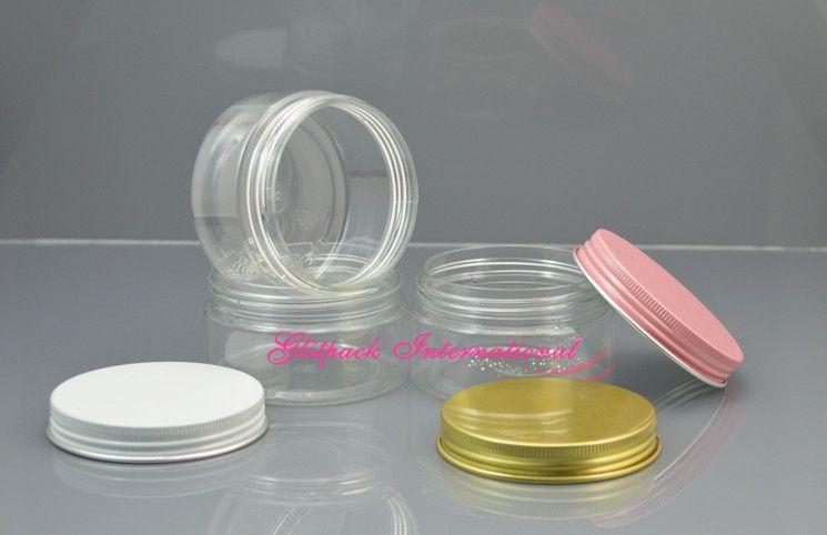 / de bouteilles en PET Superbe or en aluminium de Cap pot transparent crème Récipient en plastique bocaux de conserves 3.5oz cosmétiques large bouche