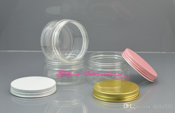 Garrafa PET lindo tampa de alumínio ouro / 100g 100ml de plástico transparente recipiente de creme Jar 3,5 oz frascos de conservas Cosméticos de boca larga