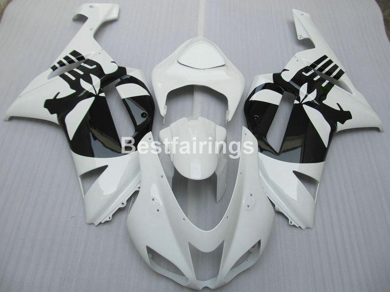 Juego de carenado para carenado negro blanco Kawasaki Ninja ZX6R 2007 2008 ZX6R 07 08 MA03
