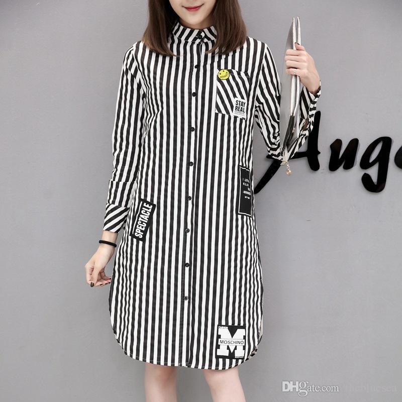 06da9d01e3876 Fashion New Black White Stripes Open Fork Long Sleeve Blouses Shirts Plus  Size Women Spring Autumn Cotton Pocket Long Trench Coat Dress Tops Fashion  New ...