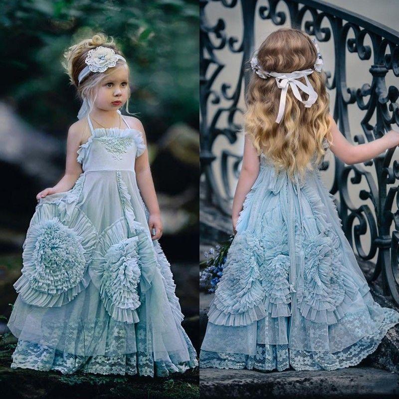 2017 Flower Girl Dresses Halter Princess Kids Birthday Party Gowns