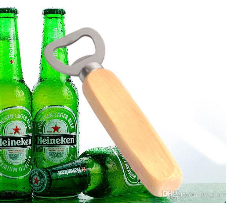 DHL Cuisine Ouvreur De Bouteille Outils En Acier Inoxydable Manche En Bois Bière Ouvreurs Bar Outils Soda Bière Bouteille Cap Ouvreur Cadeaux