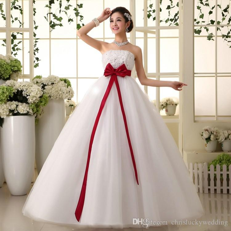 Captivating Discount 2017 Red / White Cheap Ball Gown Wedding Gowns Sequin 2017 Plus  Size Lace Wedding Dress With Big Bow Sash Floor Length Grecian Wedding  Dresses ...