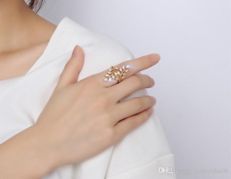 MEAGUET Luxus Weizenform Große Ringe Für Frauen Weizen CZ Stein Statement Ring Engagement Großhandel Schmuck Blätter Design RT-018