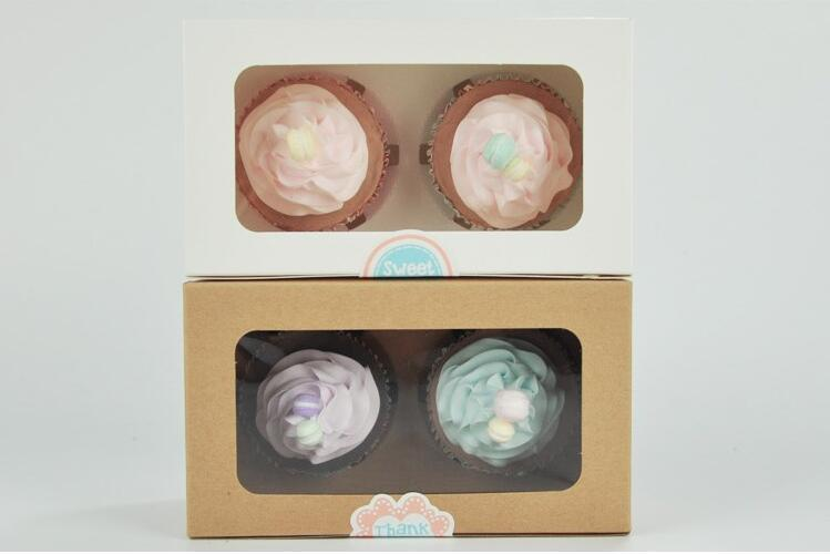 kraft Card Paper Cupcake Box 2 Cup Cake Holders Muffin Cake Boxes Dessert Portable Package Box Tray Gift Favor