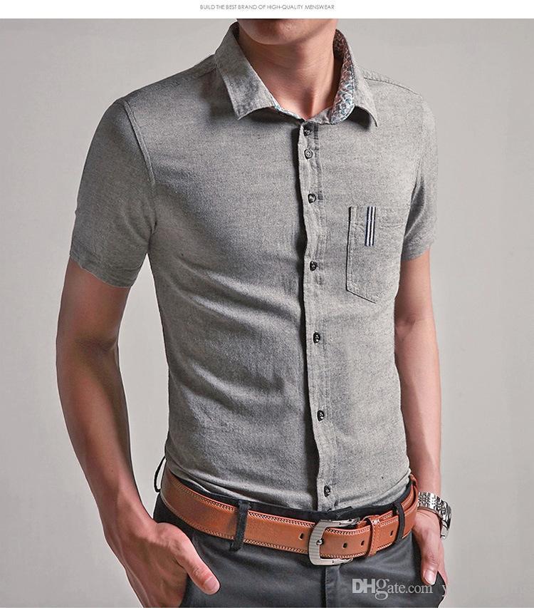 Toptan ücretsiz kargo Yaz erkek Keten Gömlek Tops Katı Renk Elbise Kısa Kollu Gömlek Mavi Rahat Keten Adam boyutu M-6XL