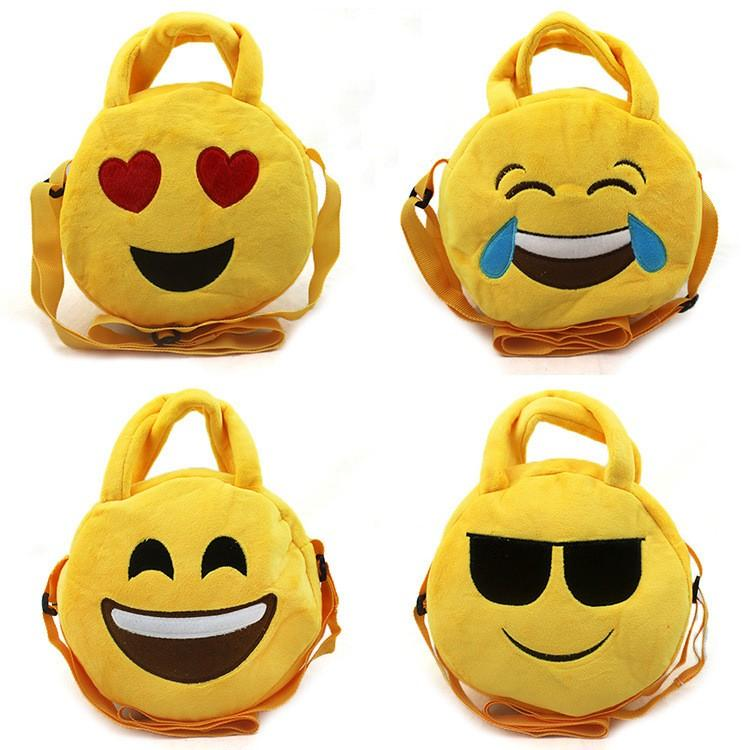 Emoji Messenger Bags For Children Plush Yellow Circular Crossbody Bag Multi Function Storage Handbags Many Styles Adjustable Size 7 5hm C R