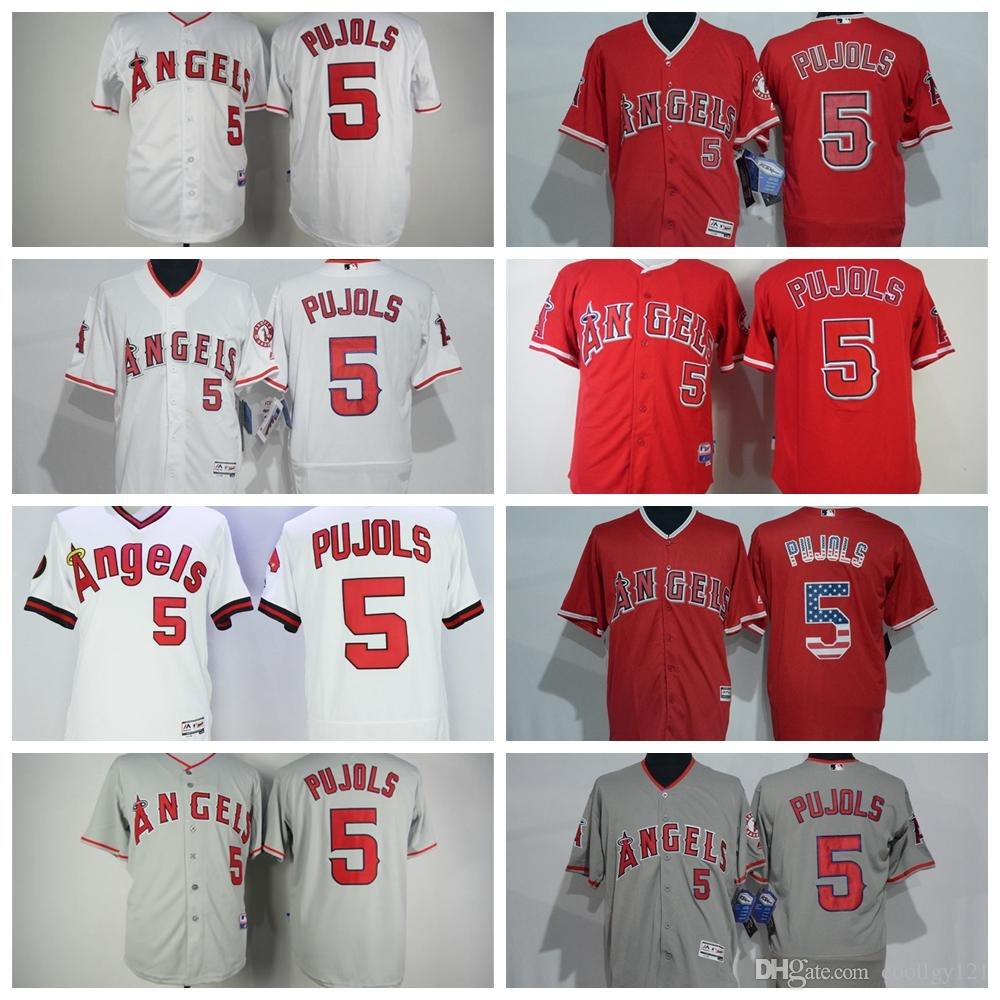 630f6095d ... reduced red gray embroidery 2017 cheap mens retro 5 albert pujols jersey  flexbase los angeles angels