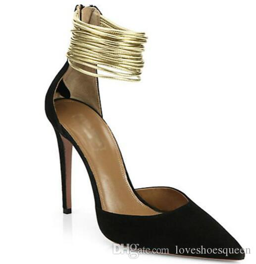 2017 talon femme correa de banda estrecha de oro 12 cm tacones altos volver zip vestido de fiesta zapatos mujer Faux Suede en punta del dedo del pie bombas de estilete